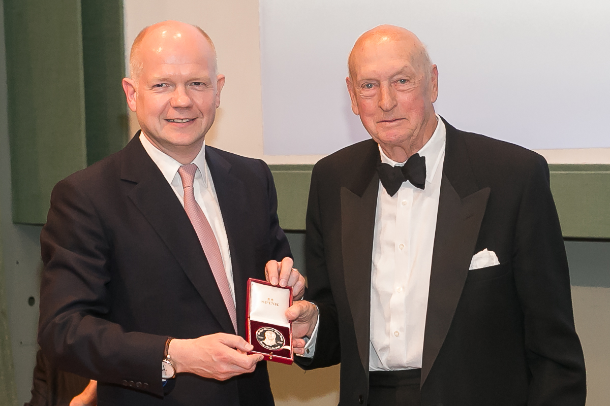 Viscount Montgomery receiving his Canning Medal from the Lord Hauge in 2013